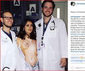 """Salma Hayek in """"topless"""" al pronto soccorso. Il selfie diventa virale"""